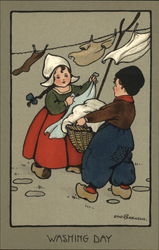 Washing Day - Children at a Clothesline Postcard