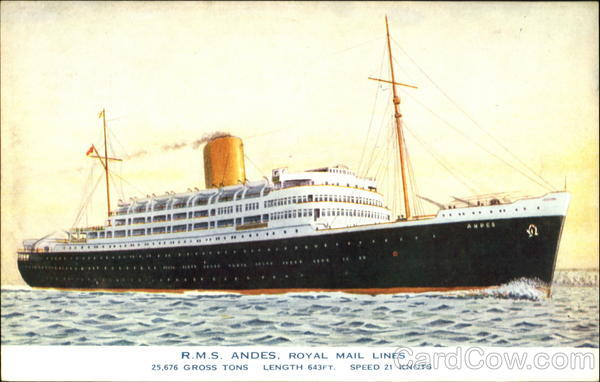 R. M. S. Andes Royal Mail Lines Boats, Ships