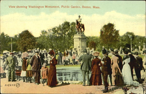 View Showing Washington Monument, Public Garden Boston Massachusetts
