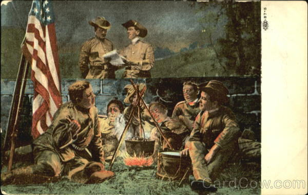 Soldiers around Campfire Military