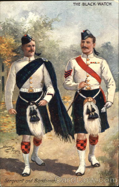 The Black Watch Sergeant And Bandsman Military