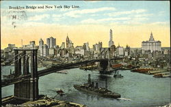 Brooklyn Bridge And New York Sky Line