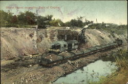 Steam shovel excavating Back of Empire Postcard