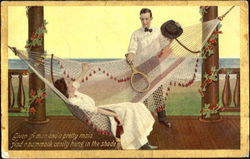Woman in hammock, Man with Tennis Racket Postcard