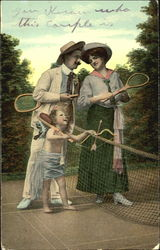 Tennis Match with Cupid Postcard
