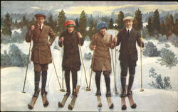 Two Couples Ready to Ski