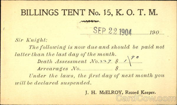 KOTM Billings Tent No. 15 Montana Fraternal