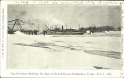 Tug Dornbos Bucking Ice Jam At Grand Haven Interurban Bridge