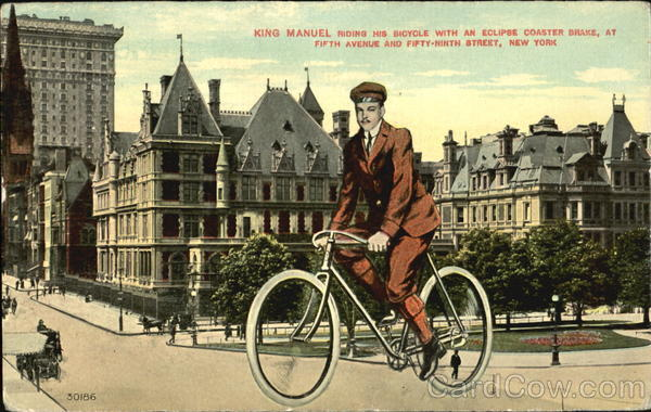 Kingmanuel Riding His Bicycle With An Eclopse Coaster Brake, Fifth Avenue and Fifty-ninth Street New York