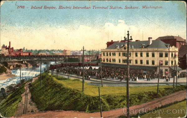 Inland Empire, Electric Interurban Terminal Station Spokane Washington