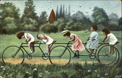 5 Children on Tandem Bicycle