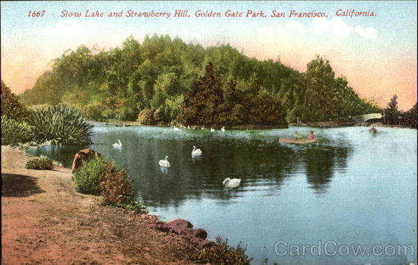 Stow Lake And Strawberry Hill, Golden Gate Park San Francisco California