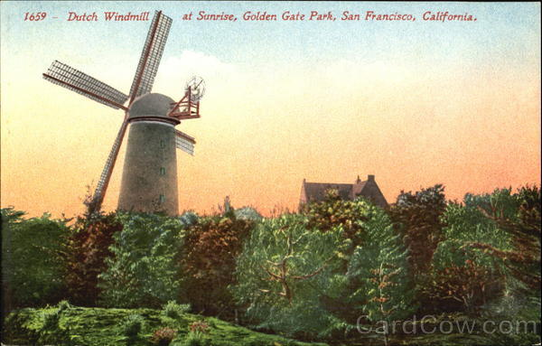 Dutch Windmill At Sunrise, Golden Gate Park San Francisco California