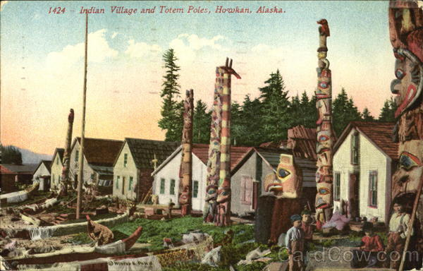 Indian Village And Totem Poles Howkan Alaska