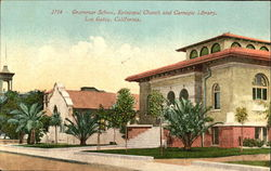 Grammar School Episcopal Church And Carnegie Library Postcard