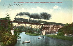Southern Pacific Flyer Crossing The River Near Capitola