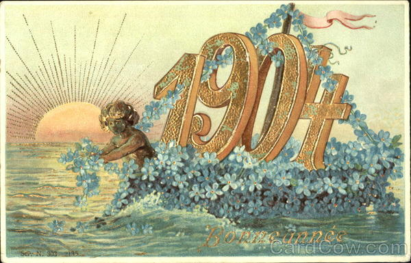 1904 New Year's Figures Made of Flowers
