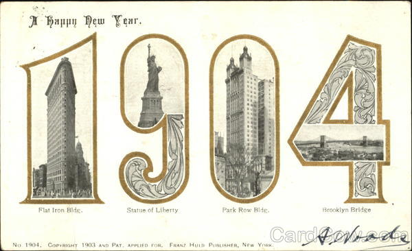 A Happy New Year 1904 New York Large Letter Dates