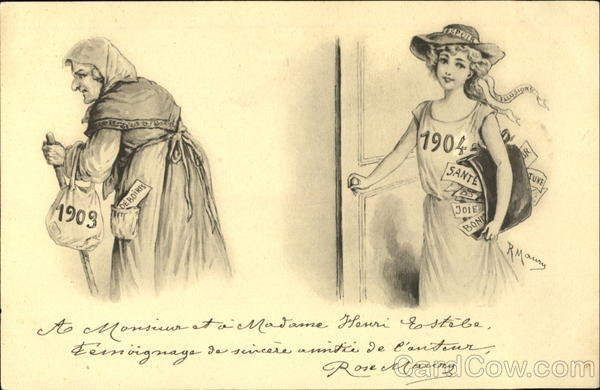 1904 Old and Young Ladies New Year's