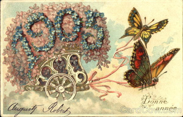 1905 Bonne Anne Butterflies New Year's Figures Made of Flowers