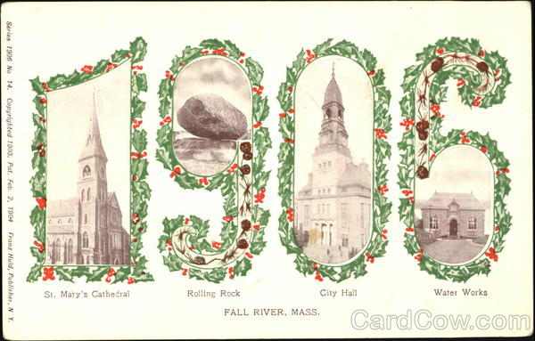 1906 Fall River Massachusetts Large Letter Dates
