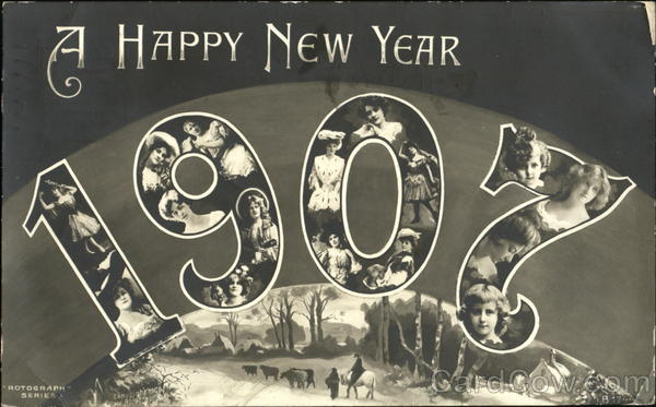 A Happy New Year 1907 Year Dates Faces in Letters