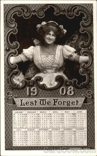 1908 Lest We Forget New Year's