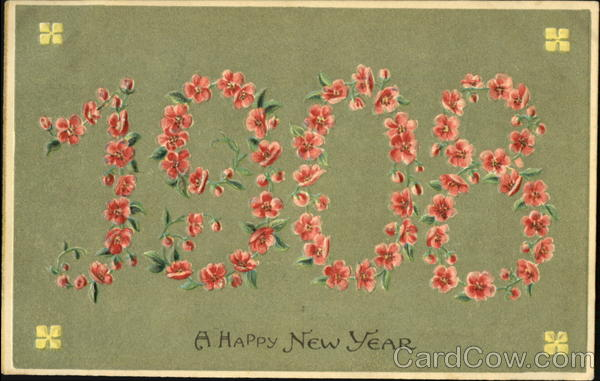 1908 A Happy New Year Year Dates