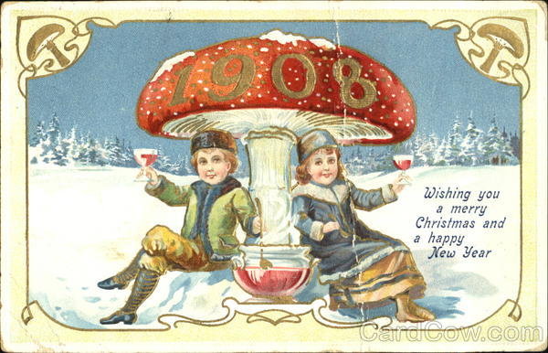 1908 Wishing You A Merry Christmas And Happy New Year