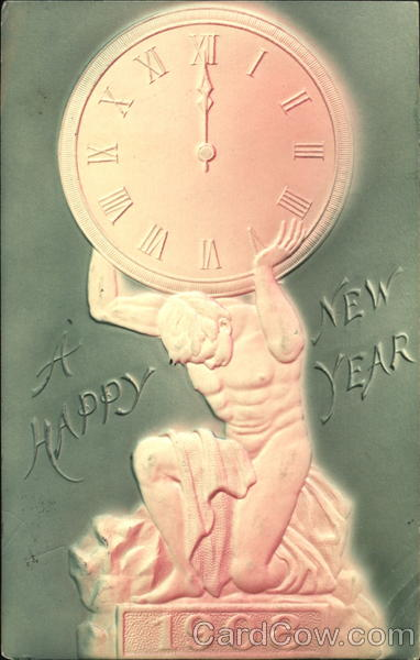 A Happy New Year 1908 New Year's Airbrushed