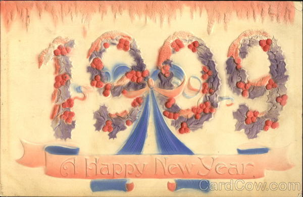 1909 A Happy New Year New Year's Airbrushed
