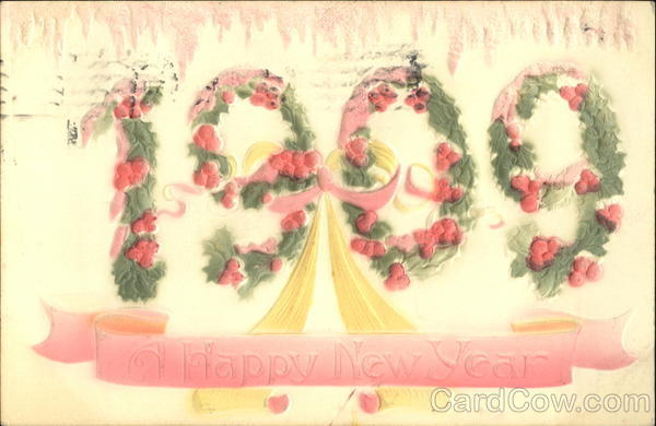1909 A Happy New Year Leap Year Airbrushed