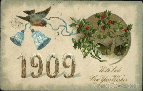 1909 With Best New Year Wishes New Year's