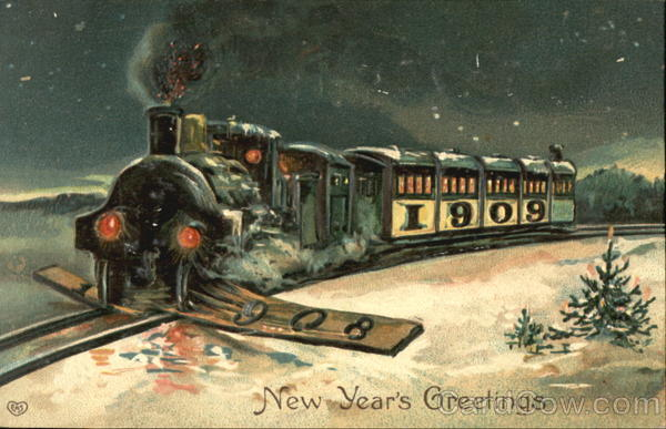 1909 Train New Year's Greetings