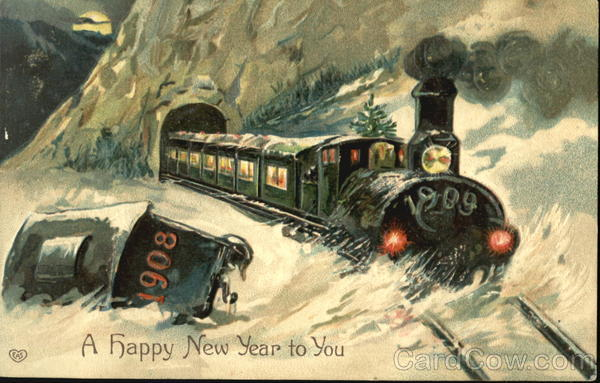 1909 Train A Happy New Year To You New Year's