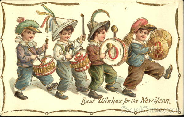 1909 Best Wishes For The New Year Children
