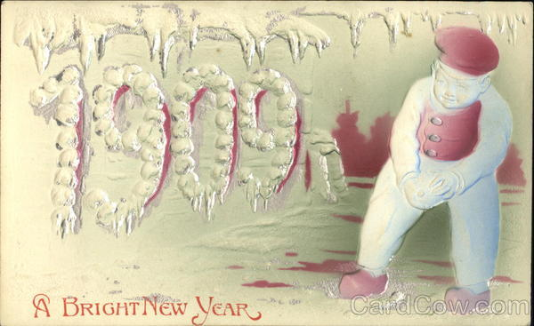 1909 A Bright New Year Children Airbrushed