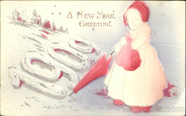 A New Year Greeting 1909 Children Airbrushed