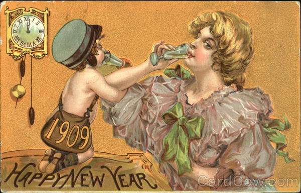 1909 Happy New Year Angels & Cherubs