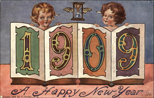 1909 A Happy New Year Angels & Cherubs