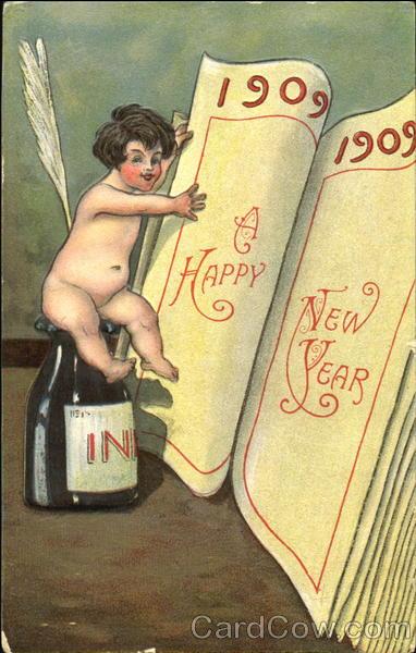 1909 A Happu New Year Angels & Cherubs