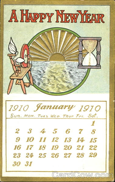 A Happy New Year 1910 Calendars