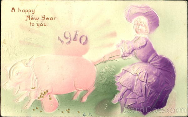 A Happy New Year To You 1910 Pigs Airbrushed