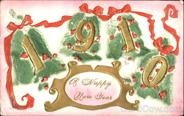 1910 A Happy New Year New Year's Airbrushed