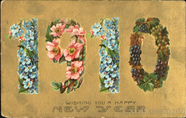 1910 Wishing You A Happy New Large Letter Dates