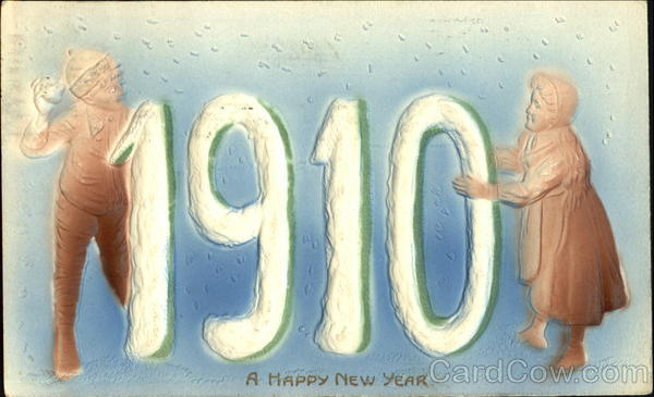 1910 A Happy New Year Children Airbrushed