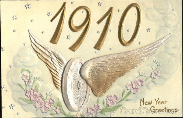 1910 New Year Greetings Year Dates Airbrushed