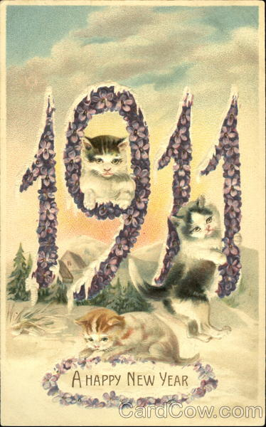 1911 A Happy New Year Cats