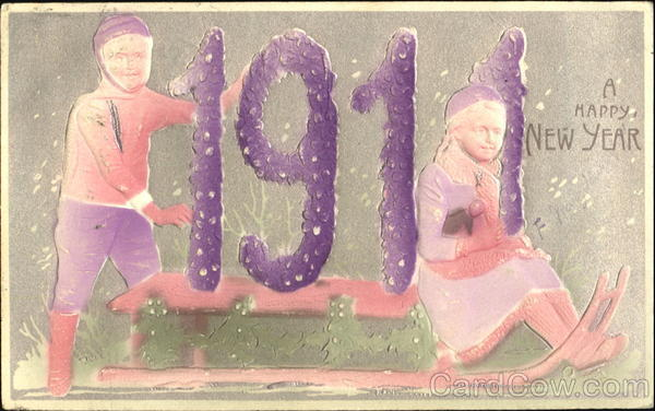 1911 A Happy New Year Children Airbrushed