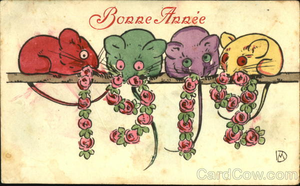 Bonne Annee 1912 Mice Year Dates